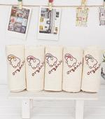 オーガニック刺繍ハンカチ)コットン容易5種
