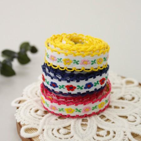 刺繍リボン飾りのリボンテープの花外出(3種)