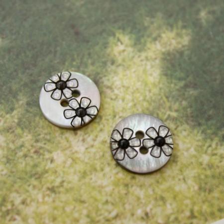 [2個]者個のボタン)13mmモダン花のボタン