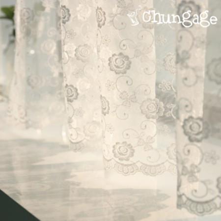 テーブルランナーメッシュレースR006ローズフラワーホワイト