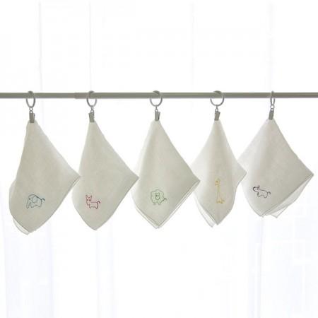竹ハンカチ)綿菓子刺繍(5枚1set)