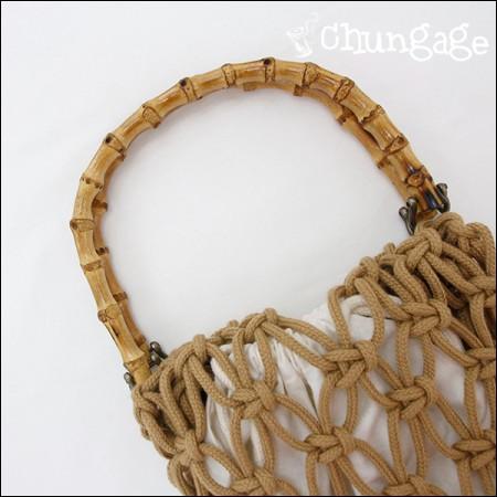 バッグのハンドルナチュラル竹ハンドル
