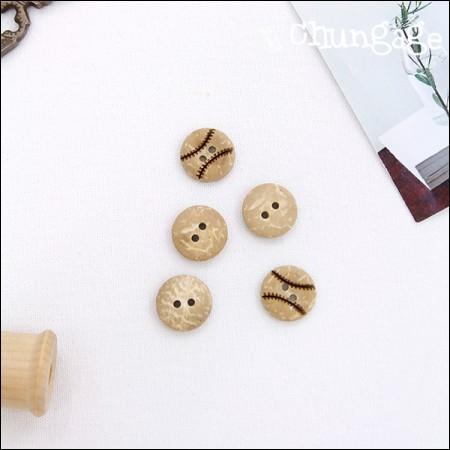 ウッドボタン野球のボールの木ボタン(2個入り)