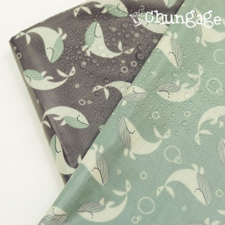 大幅 - 防水布非毒性TPUラミネート布)海中クジラ(2種)