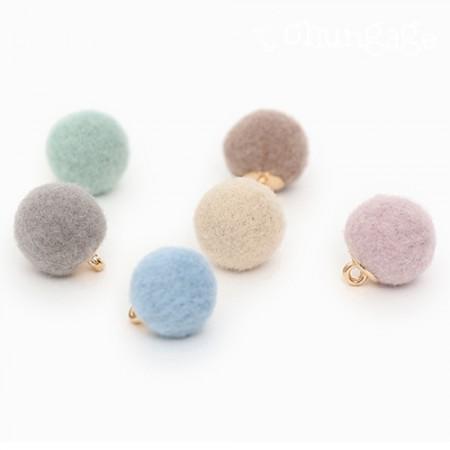 ファブリックボタンチャーム羊毛パステルボールボタン12mm