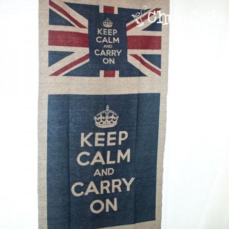 リネンカット地)Keep calm足マット&ラグカットか