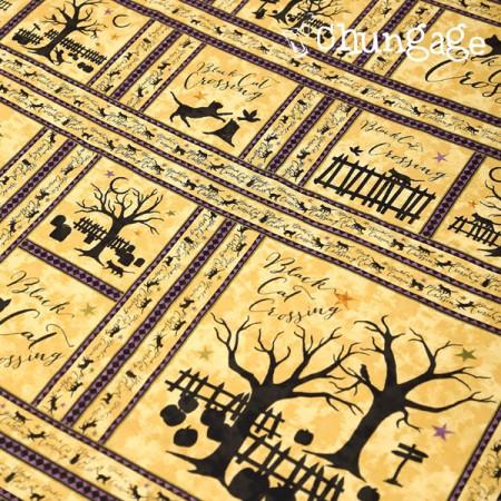 20数平織りカット地)黒猫(ベージュ)