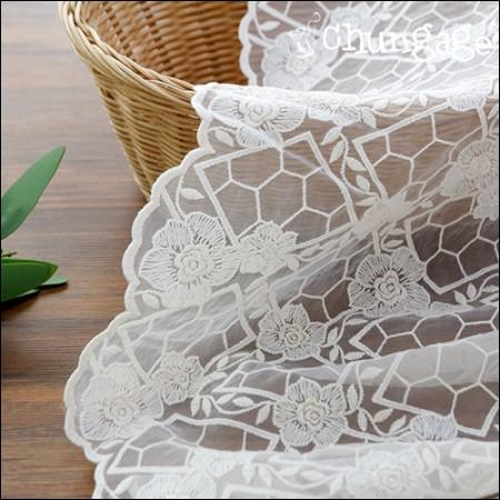 シャー生地レース刺繍の生地メッシュレースアテネバラ(2種)