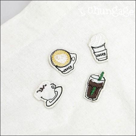 接着ワペンカフェ刺繍パッチワッペン(4種)[089]