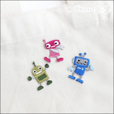 接着ワペンロボット刺繍パッチワッペン(3種)[086]