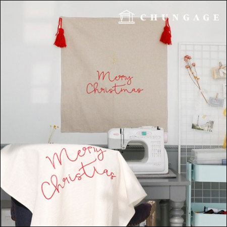 リネン刺繍カット地の生地メリークリスマス4種