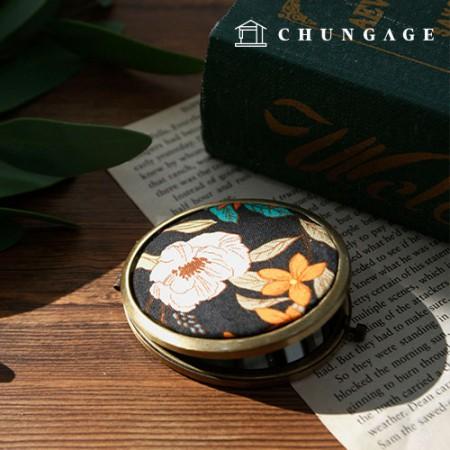 コンパクト両面ミラーオーバルフレーム骨董こっとうフランスの刺繍