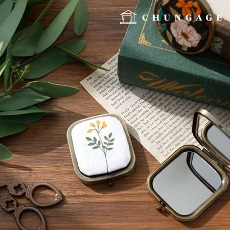 コンパクト両面ミラー長方形フレーム骨董こっとうフランスの刺繍
