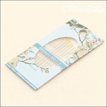 刺繍針セットミリ君針(ブルリアンステッチ用)1〜9号セット