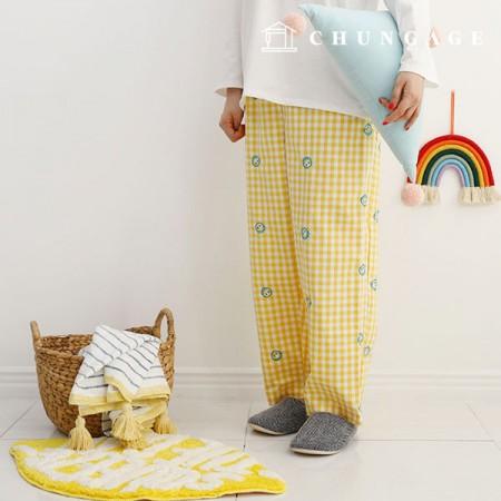 先染めチェック刺繍生地ハッピーメロイエロー1/2麻E-014