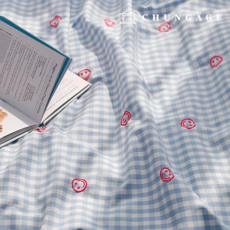先染めチェック刺繍生地ハッピーメログレーブルー1/2麻E-014