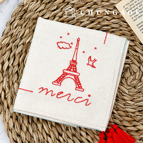 フランスの刺繍パッケージDIYキットメルシーハンカチCH-513515