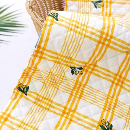綿20数平織りコットンキルティング生地マンゴーチューリップ