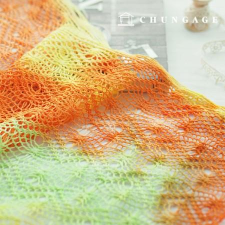 大幅カラー編みニットイエローオレンジ