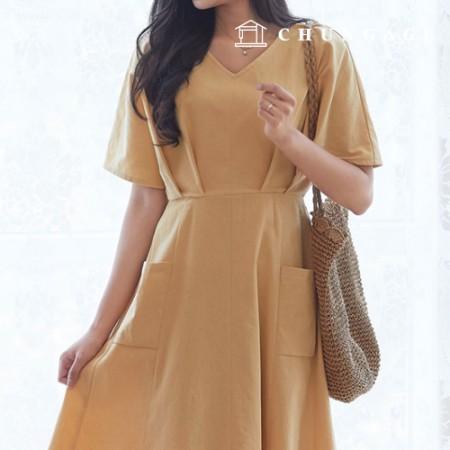 服のパターンの女性のワンピースの衣装パターン[P1381]