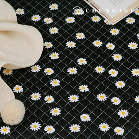 綿20数平織りコットンキルティング生地デイジーフラワー